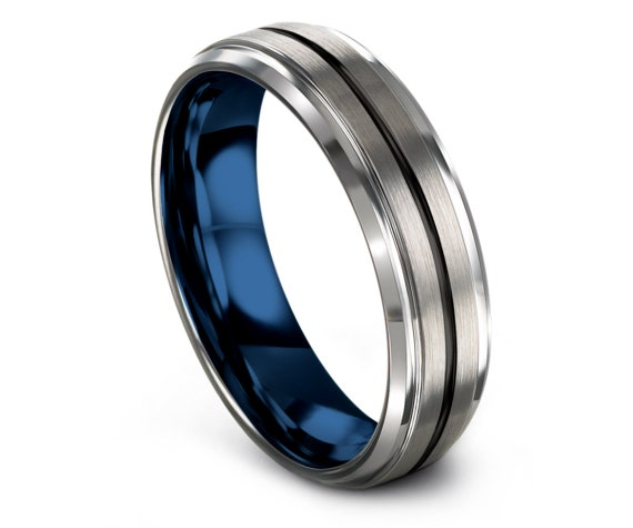 Personalized Gifts Silver Brushed, Mens Blue Wedding Band, His and Hers Bands, Center Engraved Black, Tungsten Carbide 6mm, Matching Ring