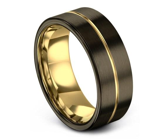 Luxury Gold Wedding Band,Tungsten Gunmetal Wedding Ring,Handmade Tungsten Ring,Engagement Ring,Promise Ring,Rings for Men,Infinity Ring