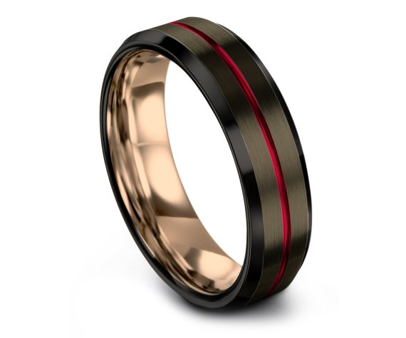 His and Hers Ring| Engagement Ring| Red Tungsten Ring| Men Wedding Band Rose Gold| Tungsten Carbide Mens Ring| Rings for Men| Free Engraving