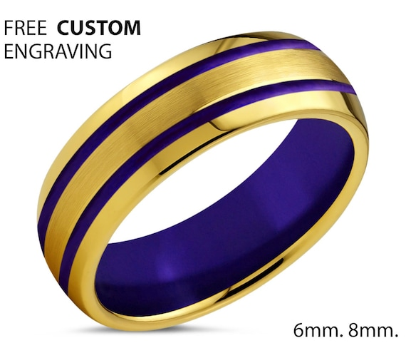 18k Yellow Gold Wedding Band, Tungsten Ring Double Purple Lines and Interior, Wedding Ring, Engagement Ring, Promise Ring, Rings for Men