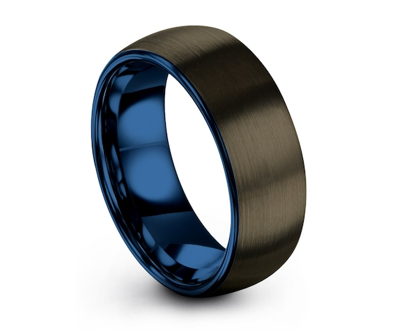 Blue Tungsten Ring for Men, Gunmetal Wedding Band 6mm or 8mm, Free Fast Shipping, Custom Personalized Engraving