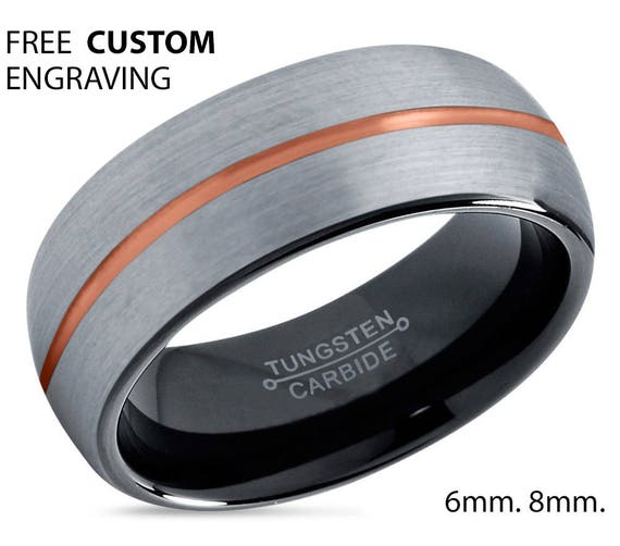 Mens Wedding Band Brushed Silver, Tungsten Ring Rose Gold 18k 8mm, Wedding Ring, Engagement Ring, Promise Ring, Rings for Men, Silver Ring