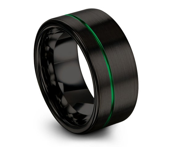 Tungsten Ring, Mens Black Green Wedding Band, Tungsten Ring, Engagement Ring, 12mm Tungsten Band, Wedding Band, Unisex Tungsten Ring