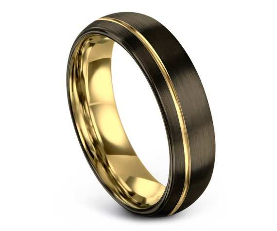 Brushed Finish Wedding Band,Tungsten 18K Yellow Gold,Engagement Ring,Personalize Ring,Ring For Gift,Comfort Fit Wedding Band,Free Shipping