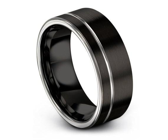 Offset Engraving Silver Ring | Flat Cut Tungsten Ring | Mens Black Wedding Band | Custom Ring | Anniversary Gift Idea | Free Fast Shipping