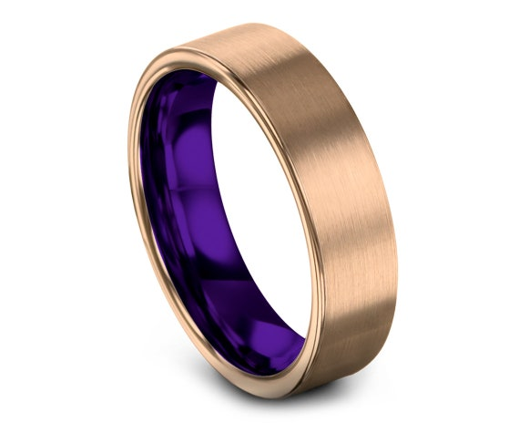 Comfort Fit Purple Wedding Band | 18K Rose Gold | Mens Purple Ring | Tungsten Carbide Wedding Band | Gift For Him | Free Shipping