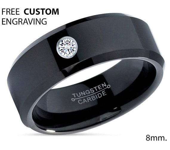 Mens Wedding Band Black, Tungsten Ring Polished, Diamond Ring, Wedding Ring, Engagement Ring, Promise Ring, Rings for Men, Rings for Women