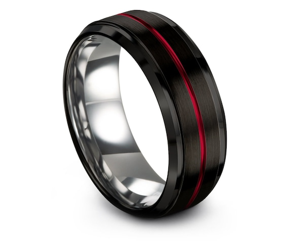 Mens Wedding Band, Black Wedding Band, Rings for Gifts, Silver Tungsten Carbide 8mm, Thin Line Center Engraving Red, Personalized Gifts