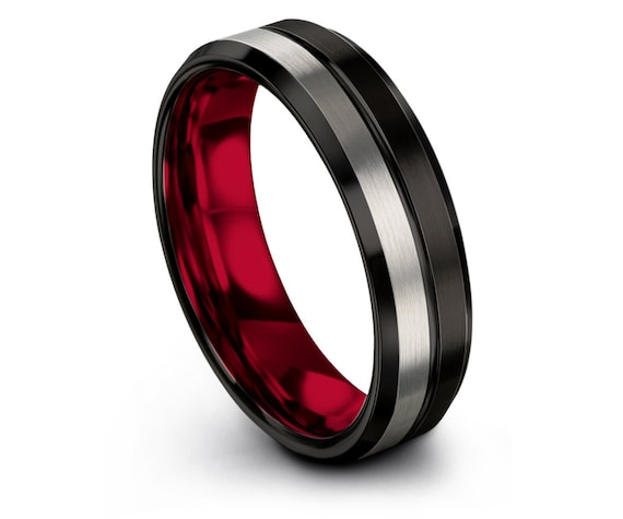 Red Tungsten Wedding Band, Black Silver Rings, Couples Ring, Engraved Center Line, Tungsten Ring for Men, Customized Jewelry, Free Shipping