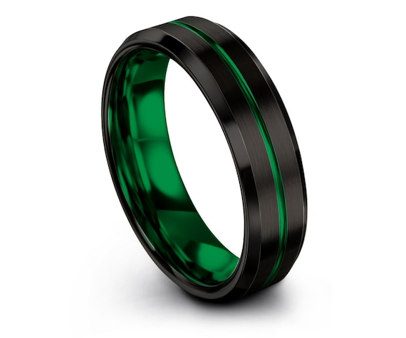 Black and Green Ring, Weddings Gifts, Tungsten Band For Mens, Engraved Wedding Band, Brushed Tungsten Wedding Band, Gifts For Her, Rings
