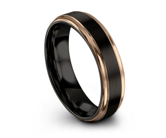 Mens Wedding Band Black, Tungsten Ring Rose Gold 18K 8mm, Wedding Ring, Engagement Ring, Promise Ring, Rings for Men, Rings for Women