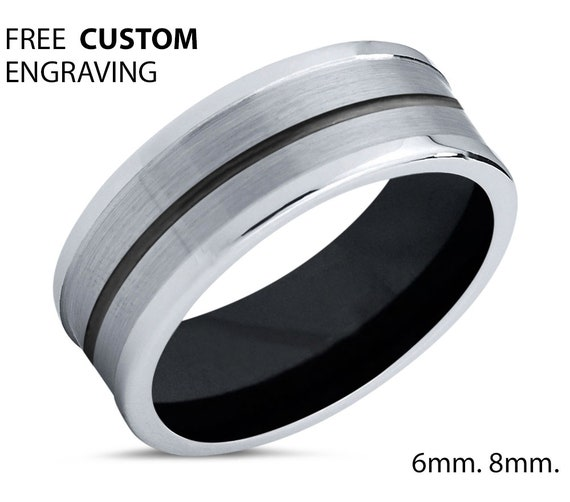 Unique Silver Mens Wedding Band, Black Tungsten Ring 8mm, Wedding Ring, Engagement Ring, Promise Ring, Rings for Men, Rings for Women