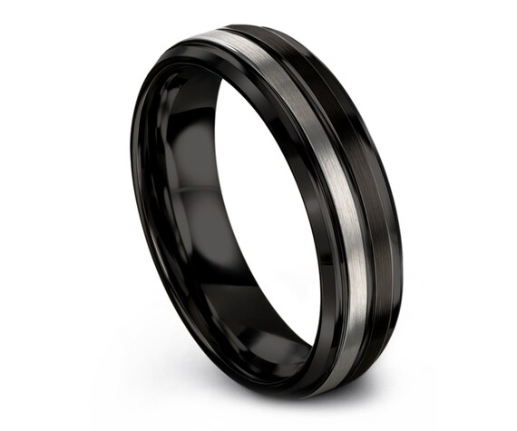 Halfway Tungsten Wedding Band, Tungsten Carbide Wedding Band, Black Silver Tungsten Ring, Personalized Gifts, Ring For Wife, Free Shipping