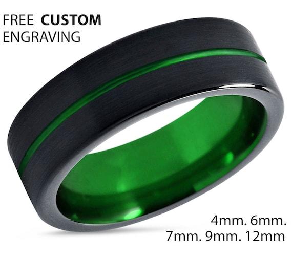 Mens Wedding Band Green, Tungsten Ring Black , Wedding Ring, Engagement Ring, Promise Ring, Rings for Men, Mens Ring, Black Ring