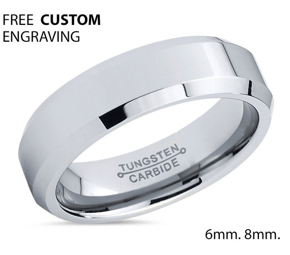 Tungsten Wedding Band,Tungsten Wedding Ring,Tungsten Carbide Ring,Engagement Band,Anniversary Ring,Beveled Edges,6mm Comfort Fit,Custom Ring