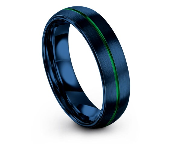 Domed Wedding Band Blue,Tungsten Ring For Men,Center Green Line,His and Hers Rings,Engraved Ring,Gift For Papa,Comfort Fit,Free Shipping