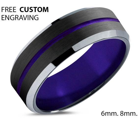 Black Polished Tungsten Wedding Band Purple Line - Unisex Wedding Band for Men & Women - Free Custom Personalized Engraving - 6mm, 8mm