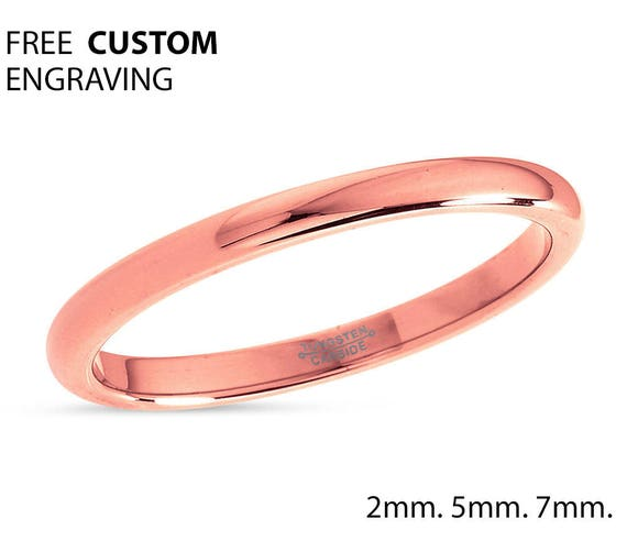 2mm Rose Gold Tungsten Wedding Band, Ladies Tungsten Ring, 18k Rose Gold, Anniversary Band, Comfort Fit, Engagement Ring, Promise Ring