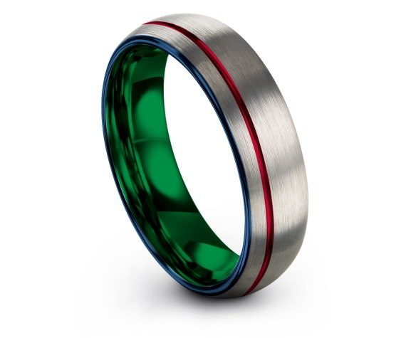 Women Wedding Ring Blue, Silver Tungsten Ring 8mm, Green Wedding Ring Set, Off-Center Red Line Engraving, His and Hers Rings, Gift For Men