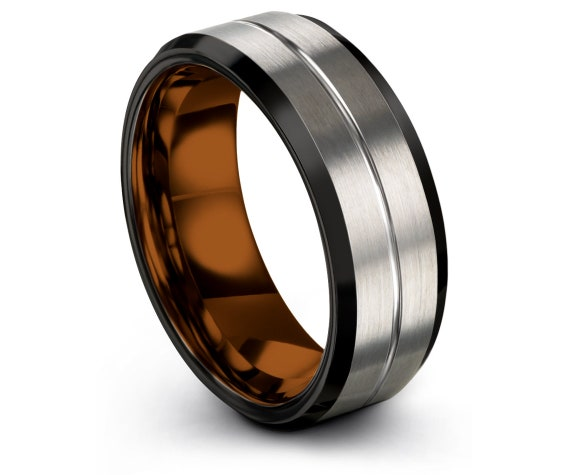 Personalized Tungsten Ring Copper, His and Hers Wedding Bands, Mens Black Rings, Brushed Silver Ring, Couple Matching Ring, Promise Ring
