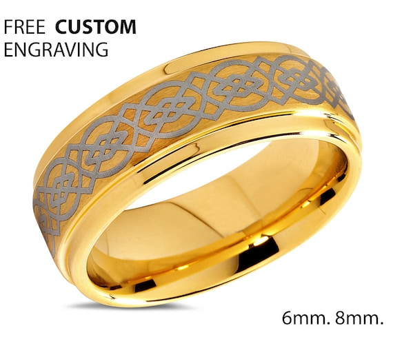 Mens Wedding Band Gold, Tungsten Ring Yellow Gold 18K, Wedding Ring 8mm, Engagement Ring, Promise Ring, Rings for Men, Gold Ring, Mens Ring