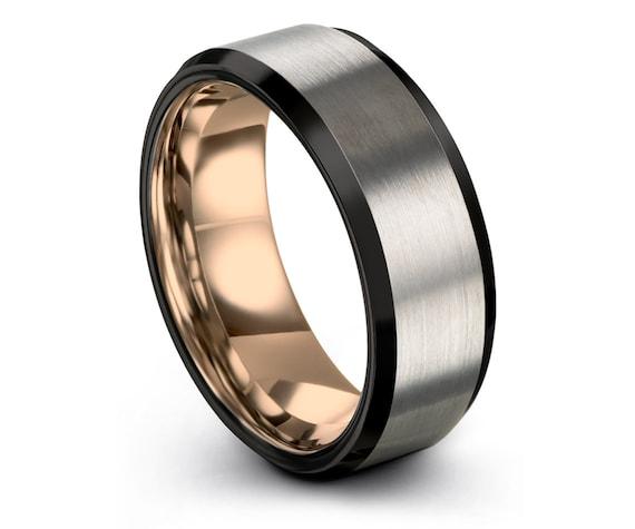 Brushed Polished Wedding Ring, Rose Gold Wedding Band, Tungsten Carbide Ring Men, Engagement Ring, Personalized Ring, Free Shipping