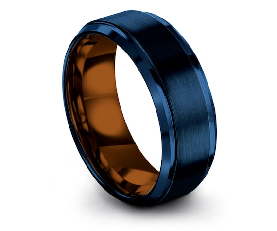 6mm 8mm Tungsten Wedding Band Blue,Copper Tungsten Ring,Blue Engagement Ring,Ring for Women,Custom Birthday Band,Gifts For Boyfriend
