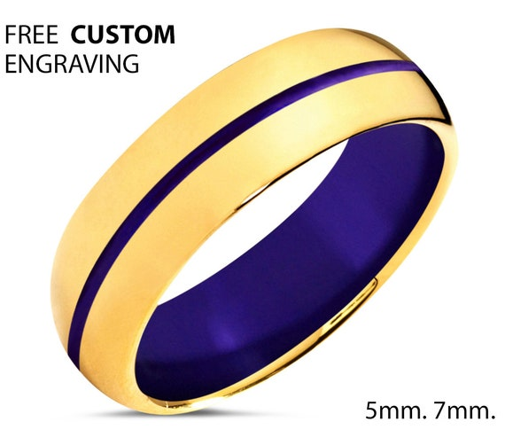 Unisex Wedding Band 18k Gold - Men & Women Tungsten Ring with Purple Center Line and Interior - Hypoallergenic - Promise Ring