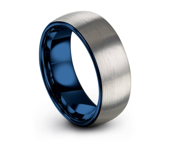 Mens Wedding Band Blue, Tungsten Ring Brushed Silver 8mm, Wedding Ring, Engagement Ring, Promise Ring, Rings for Men, Rings for Women