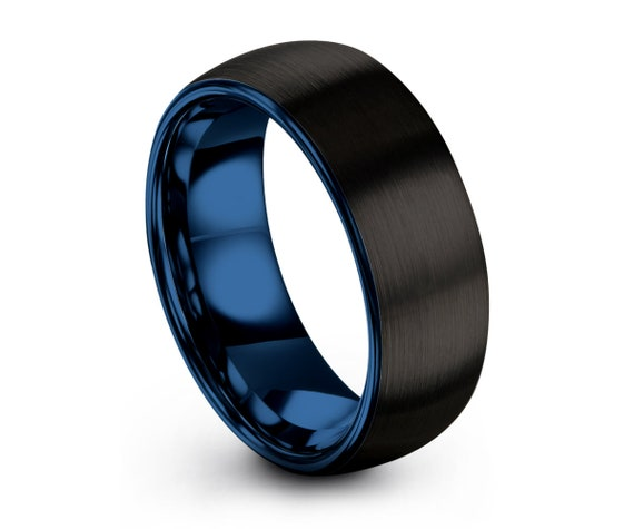 Mens Wedding Band Blue, Tungsten Carbide Ring Black 8mm or 6mm Man Male Women Anniversary Matching All Sizes Free Shipping