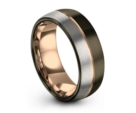 GUNMETAL Tungsten Ring Rose Gold Black Wedding Band Ring Tungsten Carbide 8mm 18K Ring Man Wedding Band Male Women Anniversary Matching