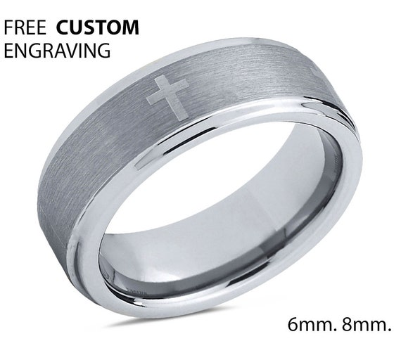 Mens Wedding Band, Tungsten Ring 8mm, Wedding Ring, Engagement Ring, Promise Ring, Gifts for Her, Gifts for Him, Personalized Ring, Cross