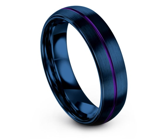 Domed Tungsten Wedding Set,Women Blue Rings,Thin Line Purple Wedding Band,Tungsten Ring Set,Man Wedding Ring,Free Engraving,Fast Shipping