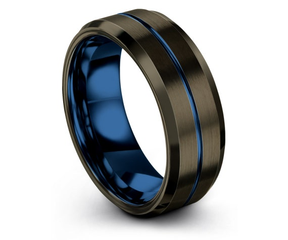 Brushed Tungsten Ring 8mm | Comfort Fit | Thin Line Blue Engraved Ring | Gunmetal Wedding Ring | Custom Ring | Valentines Gift For Him