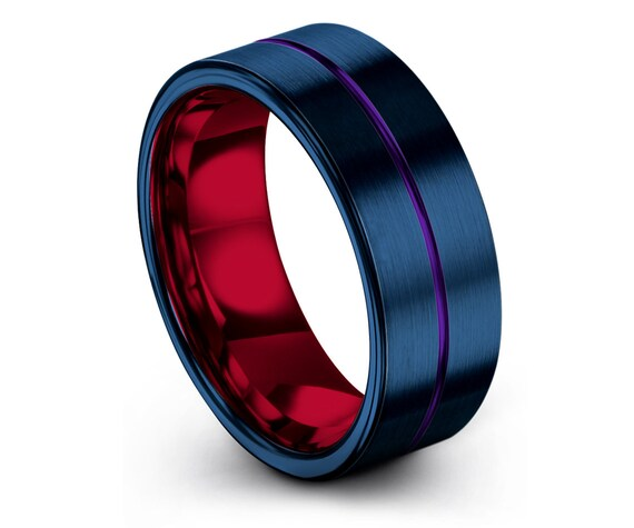 Best Friend Gifts | Brushed Blue Wedding Ring | Round Engagement Ring | Center Engraving Purple | Tungsten Red Ring Sets | Gift For Daddy