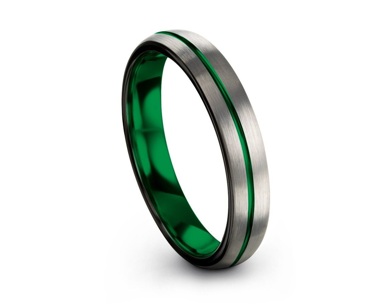 Handmade Wedding Band Black,His and Hers,Tungsten Wedding Band Green,Brushed and Polished,Tungsten Engagement Ring Set,Custom Free Shipping