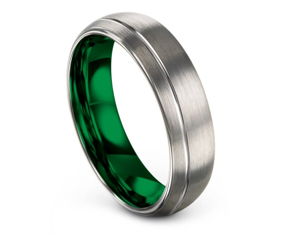 Mens Wedding Band Silver | Domed Tungsten Rings | Brushed Tungsten Band Green | Offset Engraving Line | Gifts For Him | Free Shipping
