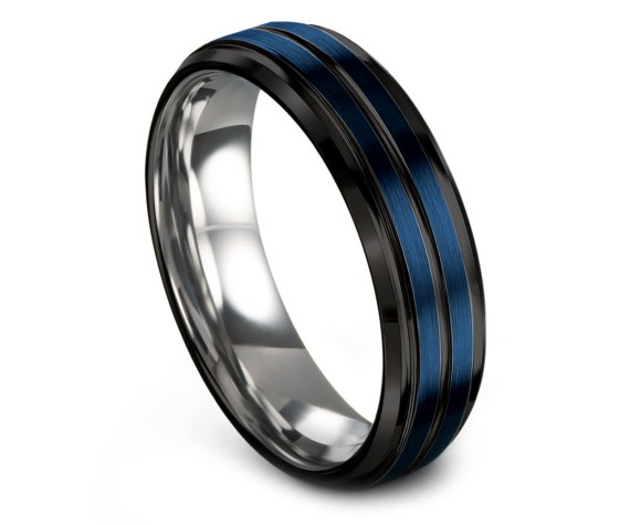 Gift For Her Silver | Tungsten Engagement Ring | Wedding Band Tungsten | Blue Brushed With Black Line Engraving | Custom | Free Shipping