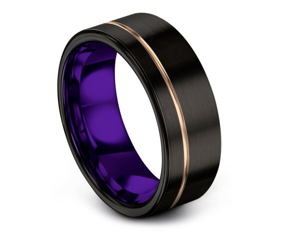 Promise Ring, 8mm Flat Cut Black Tungsten Wedding Band, Tungsten Ring Women, Mens Purple Ring, Comfort Fit, Anniversary Ring, Unique Gifts