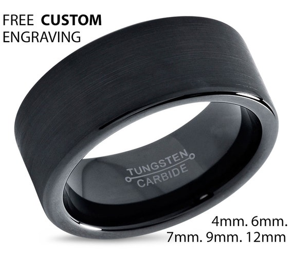 Black Flat Brushed Wedding Band Ring, Tungsten Carbide Jewelry with Free Custom Personalized Engraving and Fast Shipping