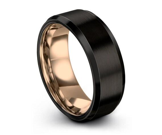 Black Tungsten Ring Rose Gold Wedding Band Ring Tungsten Carbide 8mm 18K Tungsten Ring Man Wedding Band Male Women Anniversary Matching