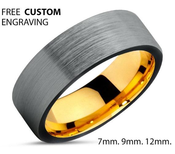 Brushed Silver Black Tungsten Ring Yellow Gold Wedding Band Ring Tungsten Carbide 7mm 18K Tungsten Ring Man Male Women Anniversary Matching
