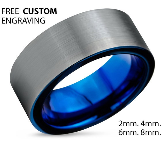 Tungsten Ring Mens Blue Wedding Band Tungsten Ring Tungsten Carbide 8mm Tungsten Man Wedding Male Women Anniversary Matching All Sizes