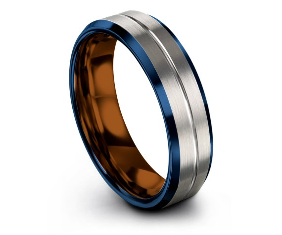 His and Hers Wedding Bands,Blue Tungsten Wedding Band,Center Engraving Ring,Copper Engagement Ring,Silver Tungsten Band,Matching Ring,6MM