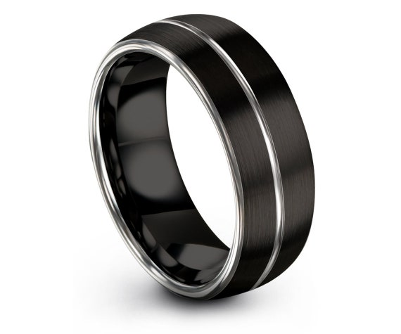 Flat Tungsten Wedding Band, Silver Engagement Band, Silver and Black, Mens Ring, Center Line, Brushed Tungsten Ring, Free Shipping