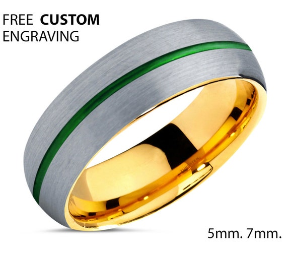 18k Yellow Gold Unisex Wedding Ring with Green Center Line and Brushed Exterior - Tungsten Wedding Band - Free Custom Engraving