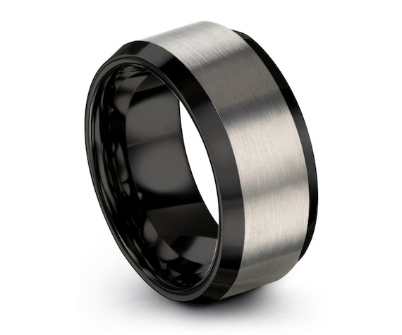 Brush Black Tungsten Wedding Band Tungsten Carbide Ring Men's Black Tungsten Ring Anniversary Ring Beveled Tungsten Band C
