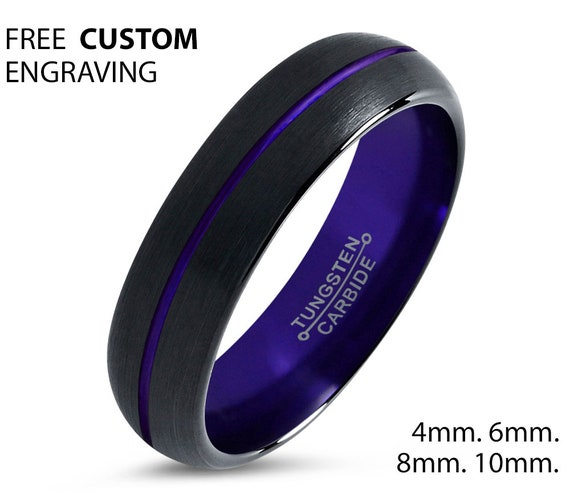 Tungsten Ring Purple, Mens Wedding Band Black 4mm, Wedding Ring, Engagement Ring, Promise Ring, Personalized, Rings for Men, Rings for Women