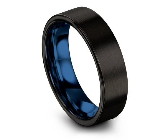Black His and Hers Wedding Bands - Black and Blue band - Comfort Wedding Band - Black Brushed - Promise Ring For Him - Handmade Jewelry Ring