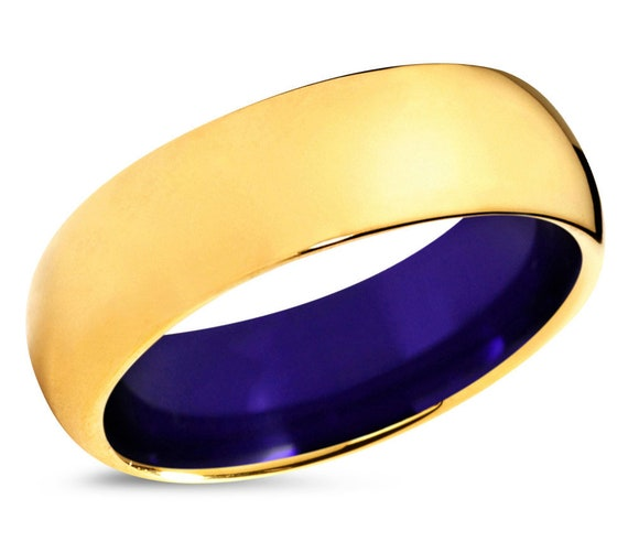 Mens Wedding Band Gold 18k, Tungsten Ring Purple 7mm, Wedding Ring, Engagement Ring, Promise Ring, Rings for Men, Gold Ring, Mens Ring
